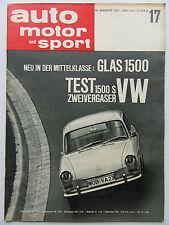Auto Motor Sport 17/1963, Test: VW 1500 S, GLAS 1500
