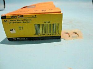 NEW BOX OF 50 SQUARE D 9080-GM6 TERMINAL BLOCKS