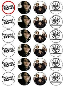 24 X PRE CUT MY CHEMICAL ROMANCE MIXED WAFER  BIRTHDAY RICE PAPER CAKE TOPPERS