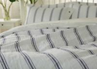 4 pcs Set Shabby Pre washed organic 100% Linen striped duvet cover pillow shams