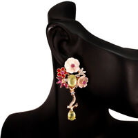 Oval Yellow Sapphire 8x6mm Ruby Mop White Cz 925 Sterling Silver Flower Earrings