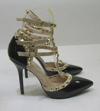 """Black/Nude 4.5""""high Stiletto heel pointy toe ankle strap sexy shoes Size  10"""