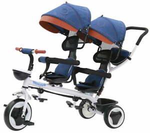 Passeggino Triciclo Gemellare Pieghevole con Sedile Girevole 360° Kidfun Tricy