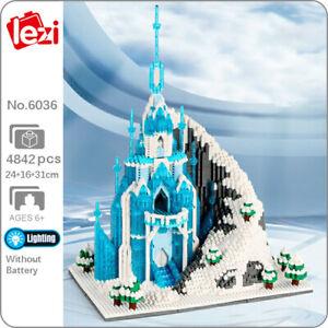 Lezi Architecture Snow Ice Frozen Castle Palace Mini Diamond Blocks Building Toy