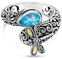 Sterling Silver 925 18K Gold Topaz DEVATA Bali Statement Ring SFM8537BSW Sz 6-9