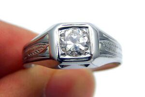 Estate Antique .65ct Old Mined Diamond & 18k White Gold Men's Unisex Ring SZ9