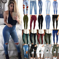 Women High Waisted Stretchy Skinny Jeans Destroyed Denim Pants Jeggings Trousers