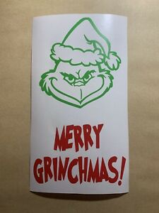 Merry Grinchmas Wine Bottle Vinyl Decal Christmas