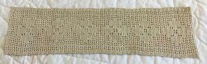 Vintage Hand Crocheted Doily, Cotton, Rectangle, Flower Design, Beige