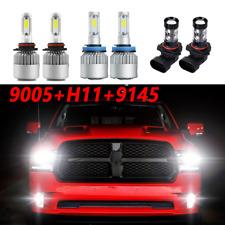 for2009-2017 Dodge Ram 1500 2500 3500 4500 LED Headlight Hi/Lo beam + Fog Bulbs