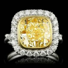5Ct Cushion Canary Yellow Syn Diamond Halo Solitaire Ring White Gold Fnsh Silver
