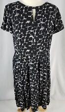 Talbots Womens Dress Black Gray Ivory Cap Sleeves Lined Rayon Polyester 8/Medium