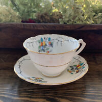 Gladstone England Bone China Tea Cup and Saucer Fruit Tree & Vine Brushed Gold