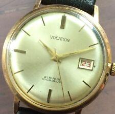 Vintage Working Vocation Incabloc Mechanical Manual Wind Date WristWATCH Watch