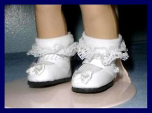 """WHITE Patent 28mm 1-1/8"""" Mary Jane Doll SHOES fit GINNY Ginger Muffie"""