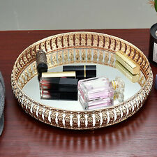 Round Mirror Glass Decorative Vintage Golden Metal Plate Drinks Display Tray