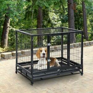 Portable Metal Cage Dogs Wheels Puppy Heavy Duty Kennel Pets Steel Crate Tray