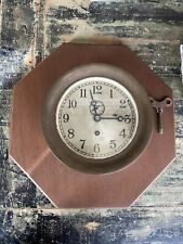 Vintage Antique Brass Chelsea Clock Co Boston Mass Ships Clock Working With Key