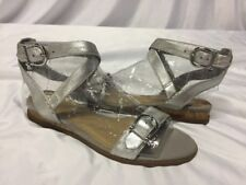 Women's Sperry Shoes Wolverine SHACKLE BUCKLE SILVER SANDALS Size 6.EUR 36
