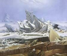 art moderne mer de glace tableau peinture huile sur toile signée  / the sea of i