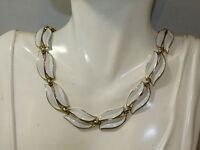 Vintage Trifari White Enamel Leaf Leaves Gold tone Choker Necklace 7b 59