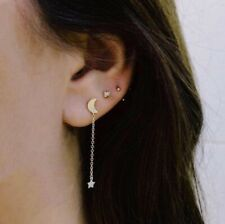 Moon Star Mismatched Earrings, Set of 3 Stars and Crescent Moon Earring Ear Cuff