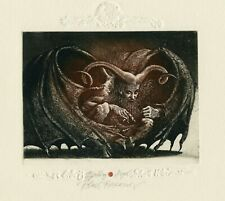 Robert Baramov Bulgaria Original Surrealistic Etching Art Print Ex libris, Angel
