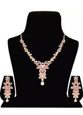 Indian Bridal Yellow Gold Pink Faux Diamond Necklace Earrings Prom Jewelry Set