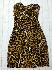 Express Dress Womens Size XS Leopard Animal Print Stretch Strapless Ruched Sexy