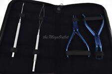 Micro Ring Extensiones De Cabello Alicates Azul con agujas Removedor De Bucle & Tira De Anillo
