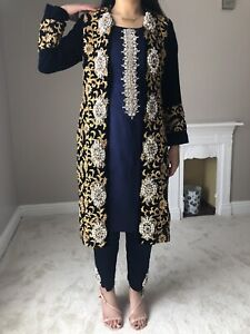Asian Wedding Party Formal Navy Jacket Trouser Suit