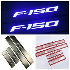 For Ford F150 2009-2015 LED Light Stainless Scuff Plate 4-Door Sill Entry Guard