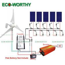 900W Hybrid System 400W Wind Turbine Generator & 100W Solar Panel &1KW Inverter