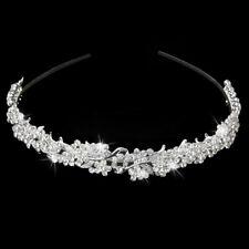 NEW Silver Wedding Bridal Tiara Rhinestone Flower Crystal Crown Pageant Headband