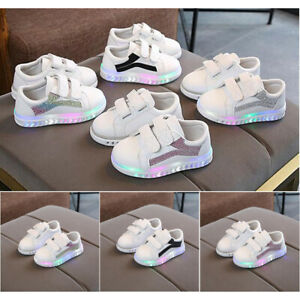 Boys LED Children Baby Toddler Kids Girls Light Up Trainers Sports School Shoes