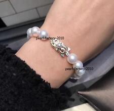 "7.5-8"" Stunning AAA 10-9mm natural Japanese Akoya white round pearl bracelet 14k"