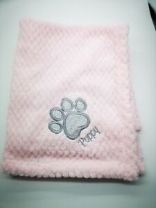 PERSONALISED DOG/PUPPY BLING GLITTER waffle FIRST BLANKET paw print  EMBROIDERED