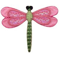"""Dragonfly Applique Patch - Pink, Layered, Bug, Insect Badge 2"""" (Iron on)"""