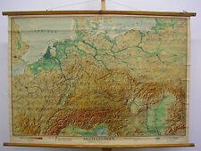 Murs carte belle vieille Europe centrale Carte Allemagne 125x89cm ~ 1947 vintage