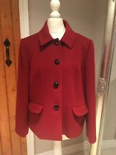 Stunning Viyella Red Wool / Cashmere Blend Smart Jacket Blazer Size 14