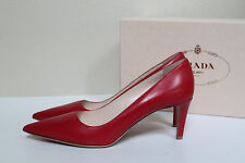 New sz 9 / 39 Prada Red Leather Pointy Toe Classic Pump Low Heel Shoes