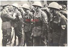 WWII ORIGINAL GERMAN WAR PHOTO OFFICER AWARDING Czech SOLDIERS W HELMET