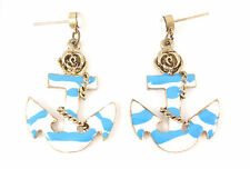 Blue Nautical Anchor Dropper Crystal Costume Jewellery Earrings Sailor