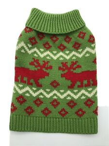 Pet Spirit Dog Puppy Turtleneck Sweater Green & Red With Moose Size Extra Small