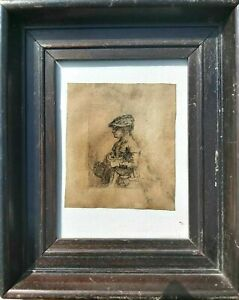 Rare Rembrandt antique engraving etching 19th 18th 17th Century ex Sotheby's (?)