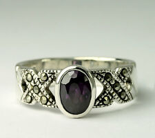 Vintage Sterling Silver Oval Purple Cubic Zirconia Marcasite X Band Ring SZ 6.5