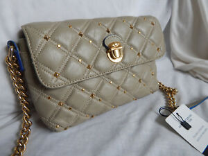 MARC JACOBS QUILTED LEATHER GOLD ACCENTS/ CHAIN SMALL CROSSBODY BAG