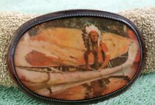 """Vintage Belt Buckle Indian Chief in Canoe Metal Art (3 1/2"""" X 2 3/8"""") Unique"""