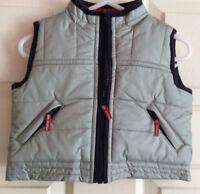 GYMBOREE Baby Boy Zip-Up Gray Silver w/ Navy Trim Puffer Vest ~ Sz  3-6 months