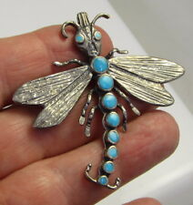 Estate Vintage Detailed Dragonfly Sterling Silver Blue Turquoise Brooch Pin